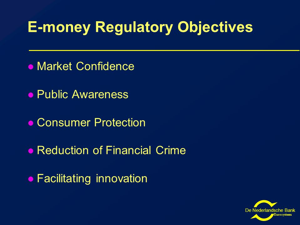 De Nederlandsche Bank Eurosysteem E-money Regulatory Objectives Market Confidence Public Awareness Consumer Protection Reduction of Financial Crime Facilitating innovation