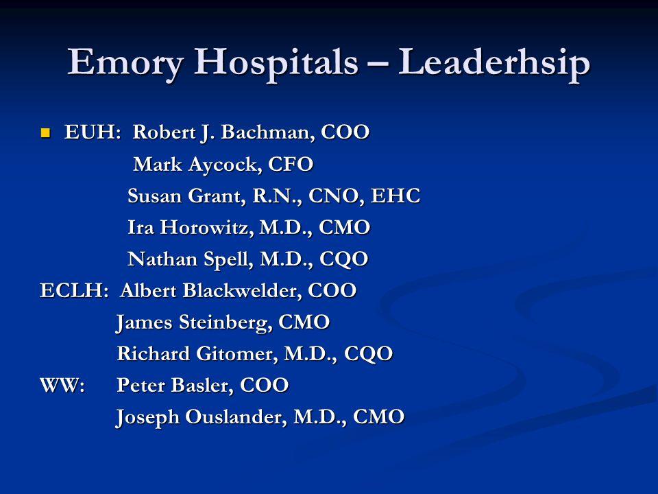 Emory Hospitals – Leaderhsip EUH: Robert J.Bachman, COO EUH: Robert J.