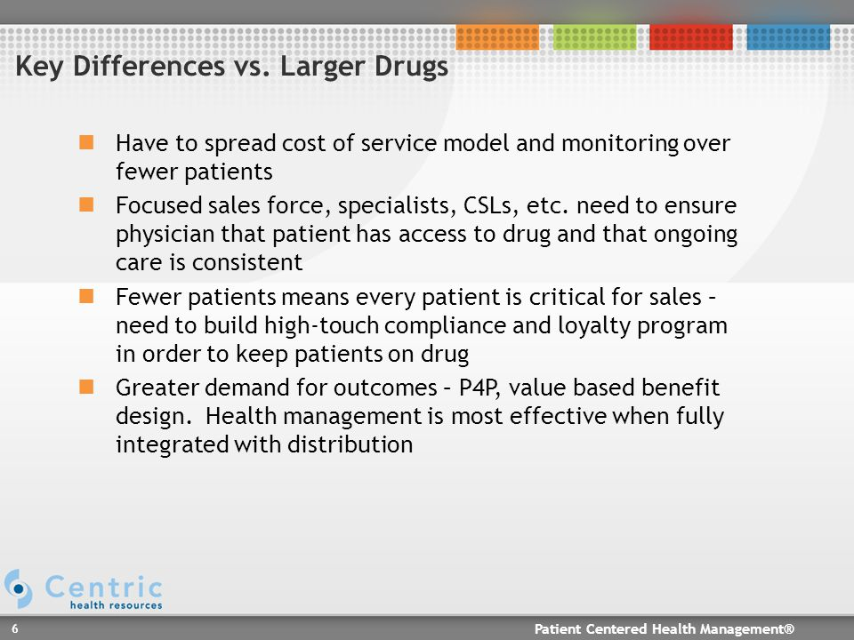Patient Centered Health Management® 6 Have to spread cost of service model and monitoring over fewer patients Focused sales force, specialists, CSLs, etc.