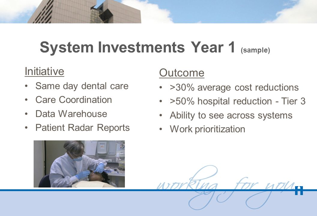 System Investments Year 1 (sample) Initiative Same day dental care Care Coordination Data Warehouse Patient Radar Reports Outcome >30% average cost reductions >50% hospital reduction - Tier 3 Ability to see across systems Work prioritization