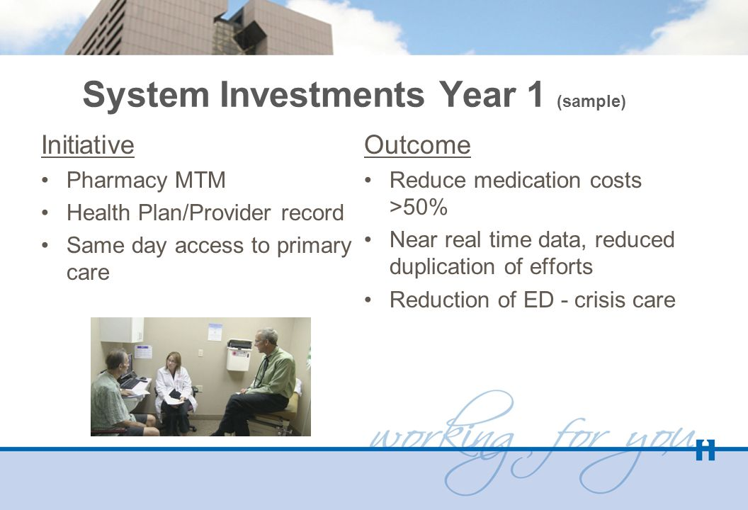 System Investments Year 1 (sample) Initiative Pharmacy MTM Health Plan/Provider record Same day access to primary care Outcome Reduce medication costs >50% Near real time data, reduced duplication of efforts Reduction of ED - crisis care