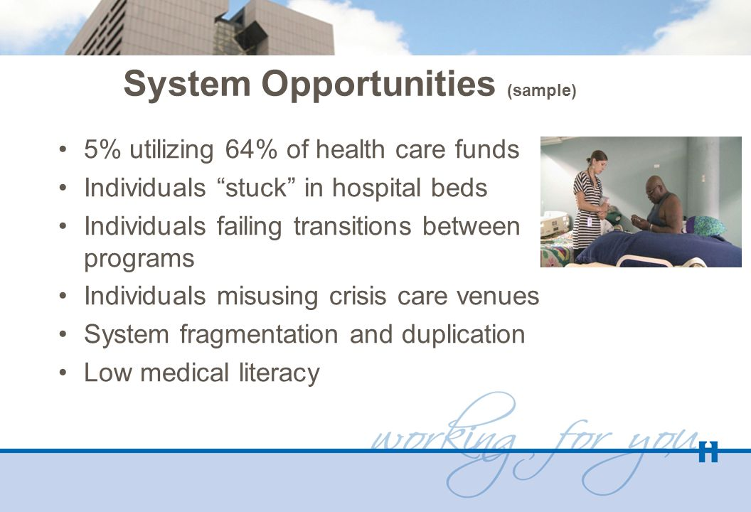 System Opportunities (sample) 5% utilizing 64% of health care funds Individuals stuck in hospital beds Individuals failing transitions between programs Individuals misusing crisis care venues System fragmentation and duplication Low medical literacy