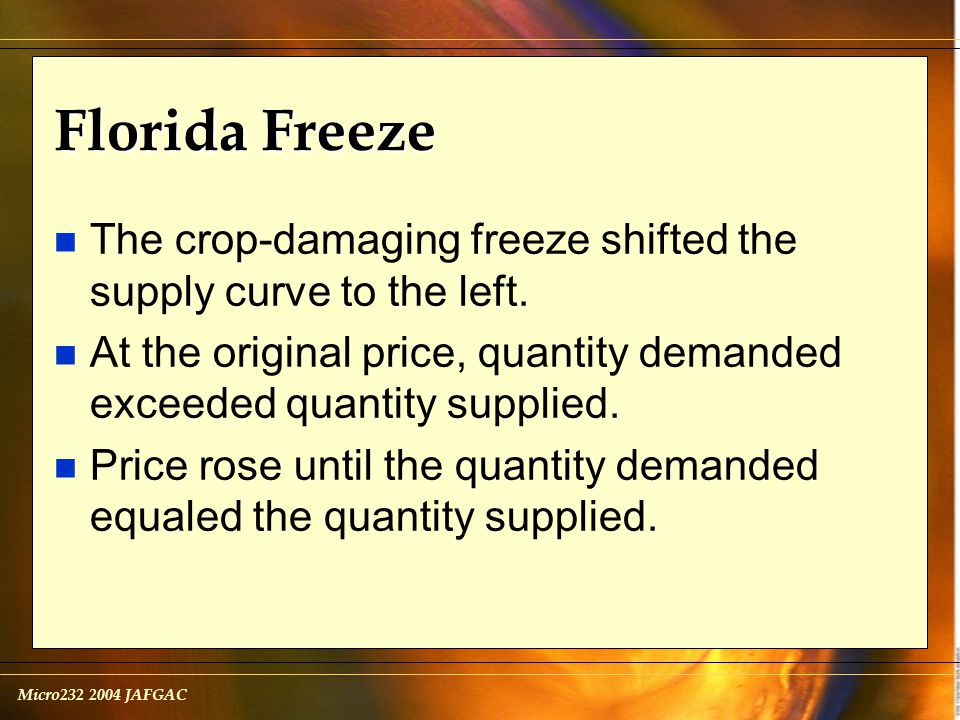 Micro232 2004 JAFGAC Florida Freeze n The crop-damaging freeze shifted the supply curve to the left.
