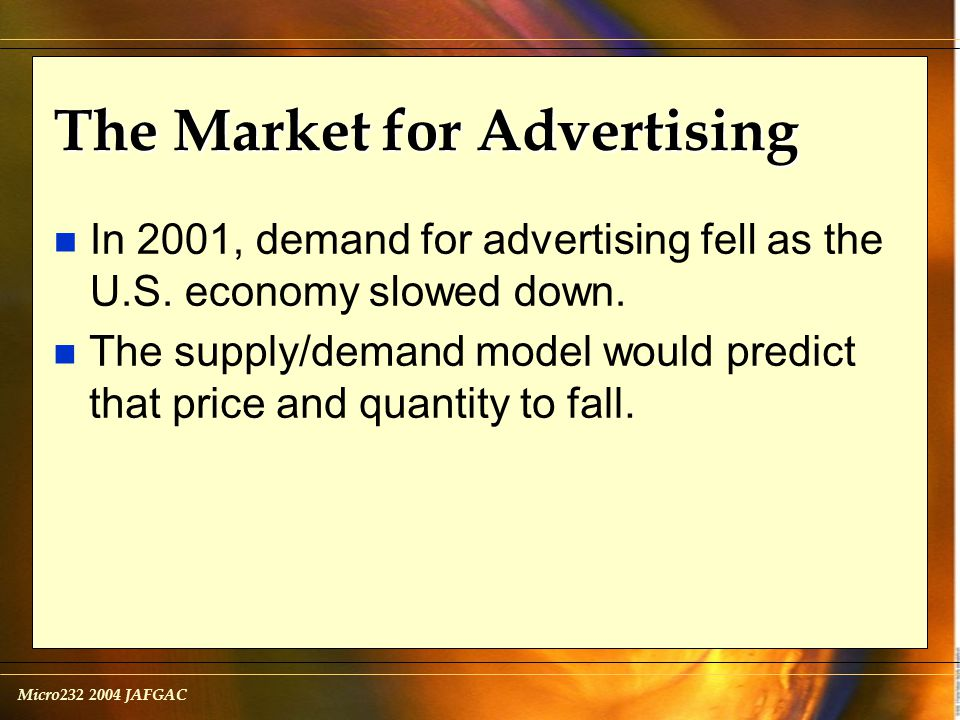 Micro232 2004 JAFGAC The Market for Advertising n In 2001, demand for advertising fell as the U.S.