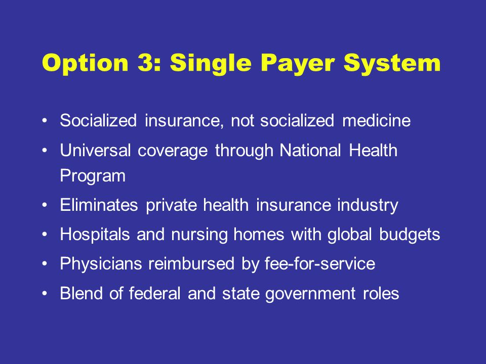 Option 3: Single Payer System Socialized insurance, not socialized medicine Universal coverage through National Health Program Eliminates private health insurance industry Hospitals and nursing homes with global budgets Physicians reimbursed by fee-for-service Blend of federal and state government roles