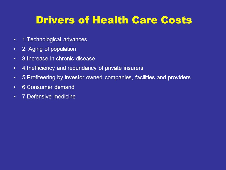 Drivers of Health Care Costs 1.Technological advances 2.