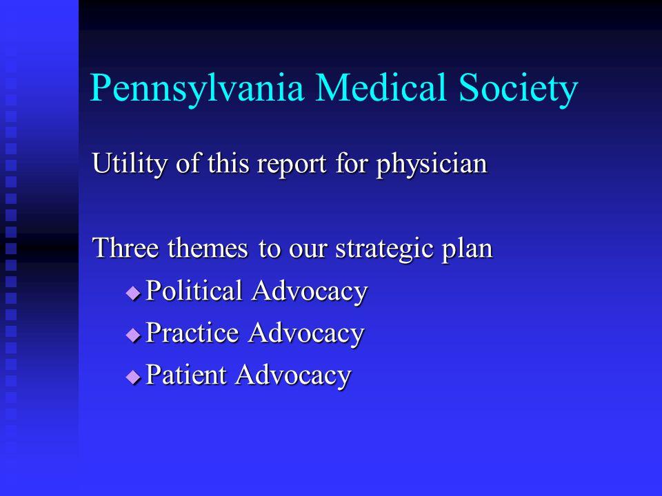Pennsylvania Medical Society Utility (cont'd) Utility (cont'd)  Political Advocacy  Tort Reform Efforts  Fair Reimbursement