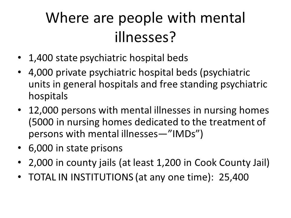 Historical Data on Hospitalization In 1950, 55,000 state psychiatric hospital beds for a population of 7 million – One bed for every 127 persons Today, 1,400 state psychiatric hospital beds for a population of 13 million – One bed for every 9,285 persons Treatment Advocacy Center study argues that we need one bed for every 2,000 persons