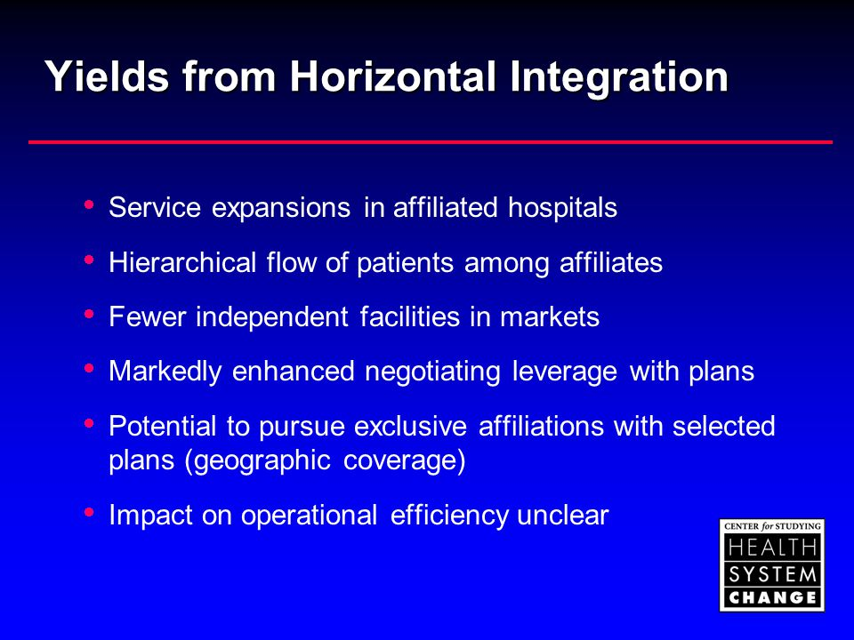 Yields from Horizontal Integration  Service expansions in affiliated hospitals  Hierarchical flow of patients among affiliates  Fewer independent f