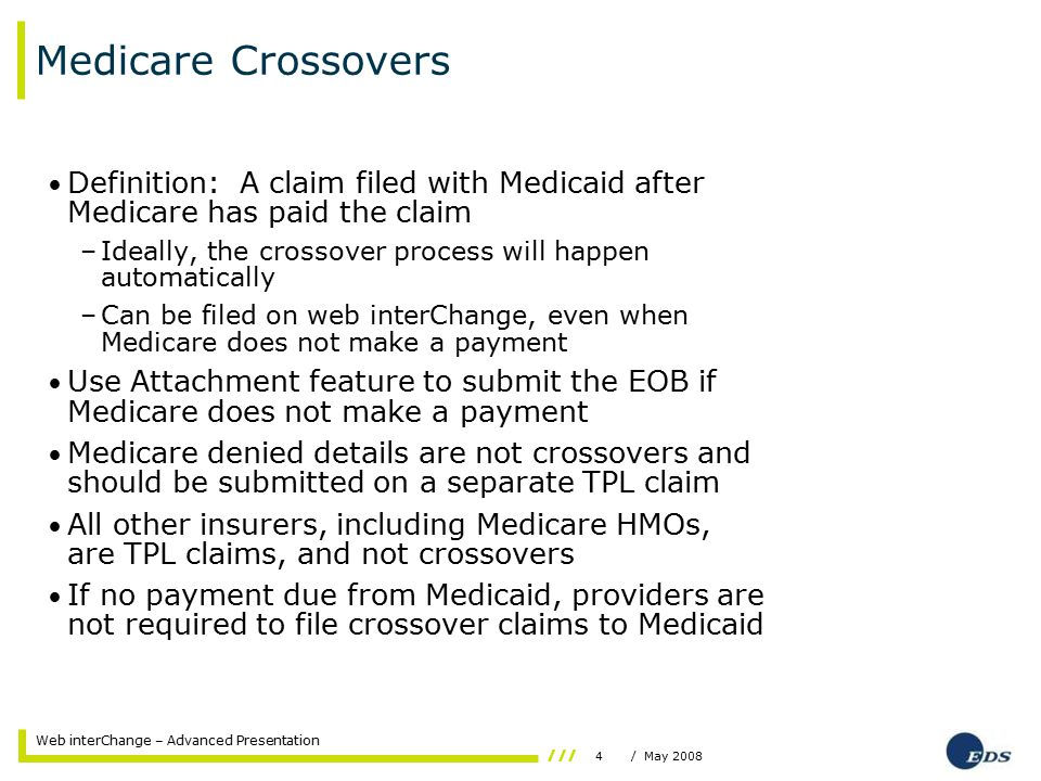 4/ May 2008 Web interChange – Advanced Presentation Medicare Crossovers Definition: A claim filed with Medicaid after Medicare has paid the claim –Ideally, the crossover process will happen automatically –Can be filed on web interChange, even when Medicare does not make a payment Use Attachment feature to submit the EOB if Medicare does not make a payment Medicare denied details are not crossovers and should be submitted on a separate TPL claim All other insurers, including Medicare HMOs, are TPL claims, and not crossovers If no payment due from Medicaid, providers are not required to file crossover claims to Medicaid