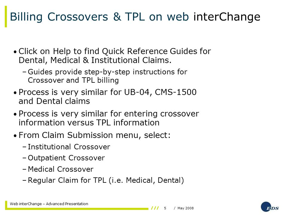 5/ May 2008 Web interChange – Advanced Presentation Billing Crossovers & TPL on web interChange Click on Help to find Quick Reference Guides for Dental, Medical & Institutional Claims.