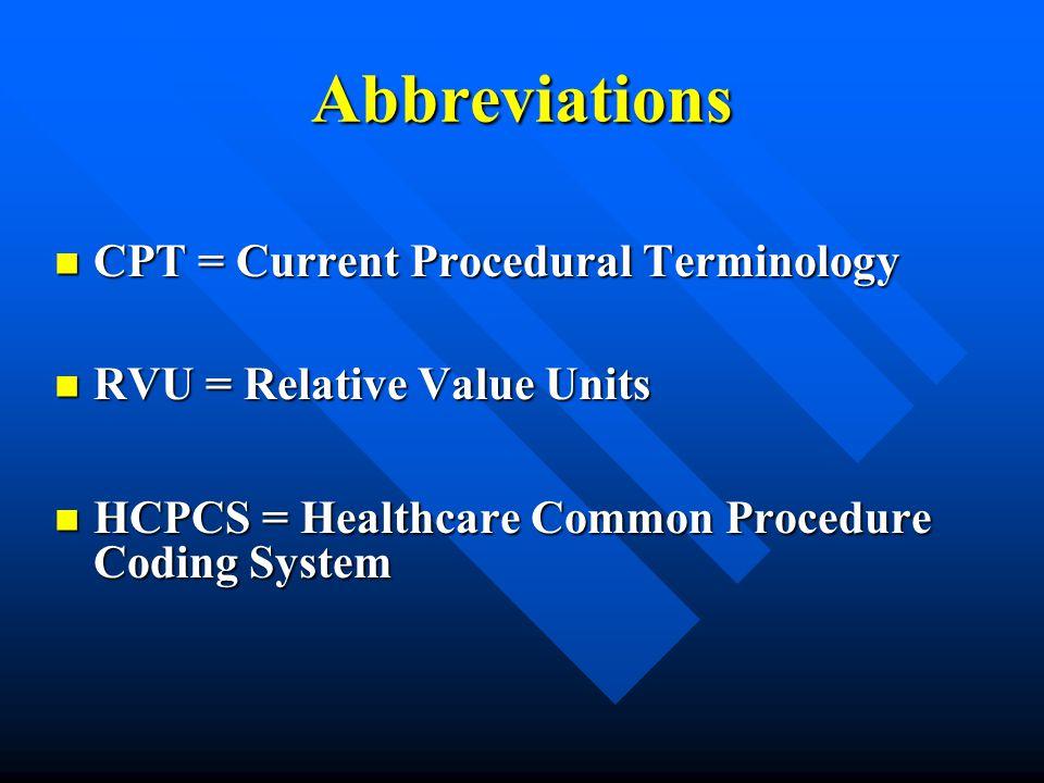 Abbreviations CPT = Current Procedural Terminology CPT = Current Procedural Terminology RVU = Relative Value Units RVU = Relative Value Units HCPCS =