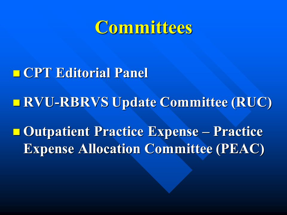 Committees CPT Editorial Panel CPT Editorial Panel RVU-RBRVS Update Committee (RUC) RVU-RBRVS Update Committee (RUC) Outpatient Practice Expense – Pra