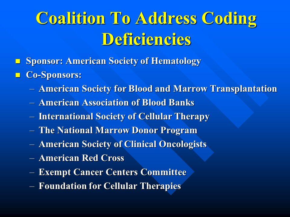 Coalition To Address Coding Deficiencies Sponsor: American Society of Hematology Sponsor: American Society of Hematology Co-Sponsors: Co-Sponsors: –Am