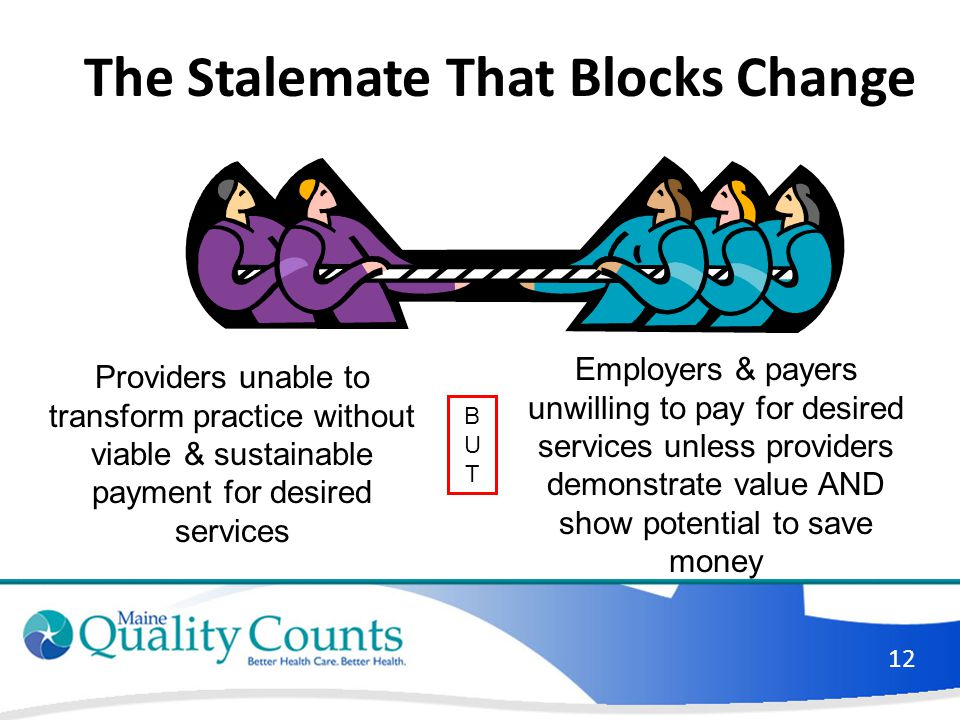 The Stalemate That Blocks Change Providers unable to transform practice without viable & sustainable payment for desired services Employers & payers u