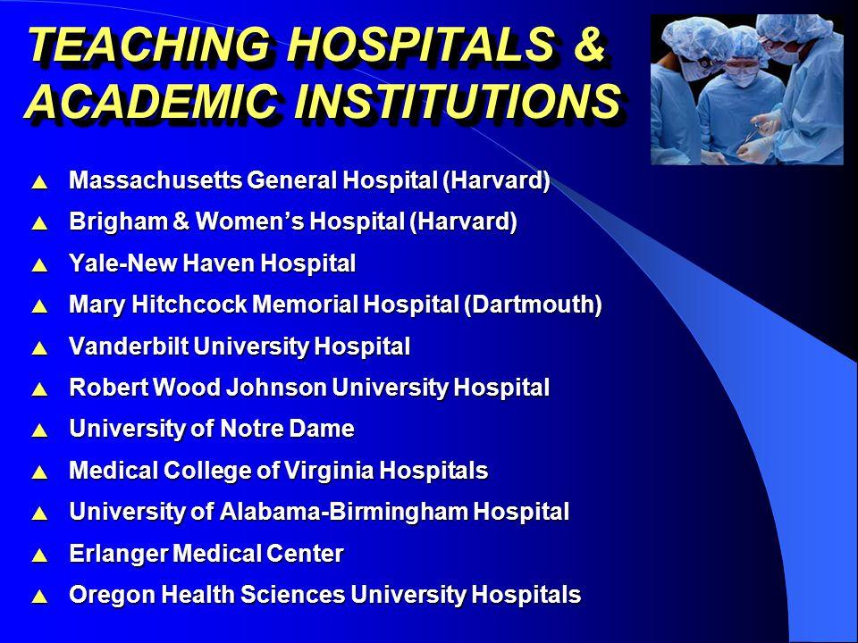 TEACHING HOSPITALS & ACADEMIC INSTITUTIONS  Massachusetts General Hospital (Harvard)  Brigham & Women's Hospital (Harvard)  Yale-New Haven Hospital