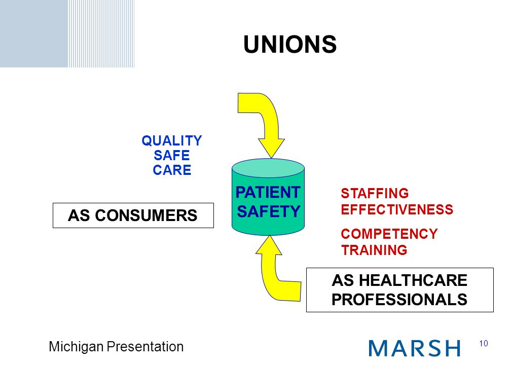 10 Michigan Presentation AS CONSUMERS AS HEALTHCARE PROFESSIONALS PATIENT SAFETY QUALITY SAFE CARE STAFFING EFFECTIVENESS COMPETENCY TRAINING UNIONS