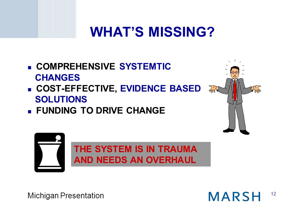 12 Michigan Presentation THE SYSTEM IS IN TRAUMA AND NEEDS AN OVERHAUL WHAT'S MISSING.