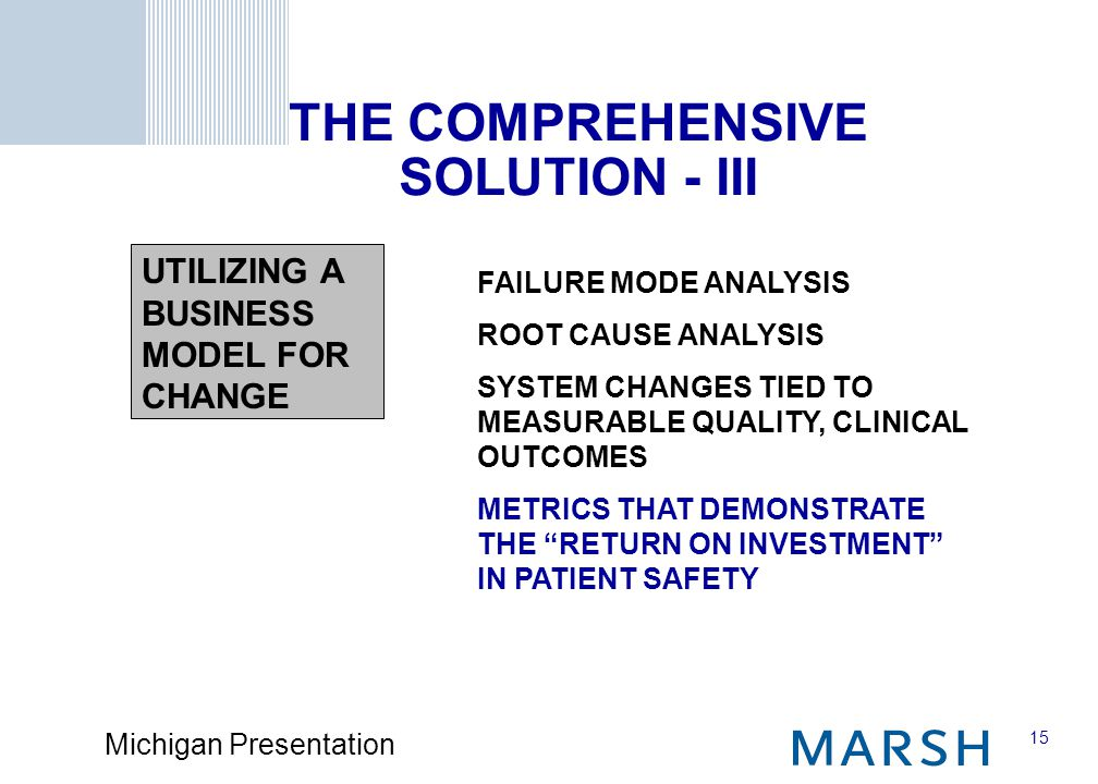 15 Michigan Presentation FAILURE MODE ANALYSIS ROOT CAUSE ANALYSIS SYSTEM CHANGES TIED TO MEASURABLE QUALITY, CLINICAL OUTCOMES METRICS THAT DEMONSTRATE THE RETURN ON INVESTMENT IN PATIENT SAFETY THE COMPREHENSIVE SOLUTION - III UTILIZING A BUSINESS MODEL FOR CHANGE