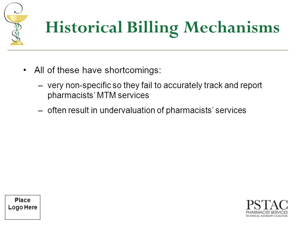 Place Logo Here Historical Billing Mechanisms All of these have shortcomings: –very non-specific so they fail to accurately track and report pharmacis