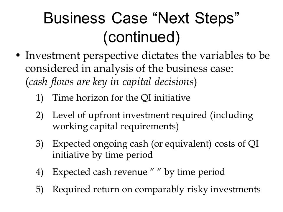 """Business Case """"Next Steps"""" (continued) Investment perspective dictates the variables to be considered in analysis of the business case: ( cash flows a"""
