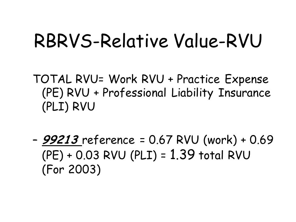 RBRVS-Relative Value-RVU TOTAL RVU= Work RVU + Practice Expense (PE) RVU + Professional Liability Insurance (PLI) RVU –99213 reference = 0.67 RVU (work) + 0.69 (PE) + 0.03 RVU (PLI) = 1.39 total RVU (For 2003)