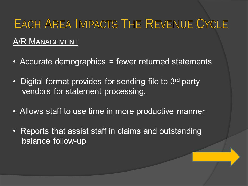A/R M ANAGEMENT Accurate demographics = fewer returned statements Digital format provides for sending file to 3 rd party vendors for statement process