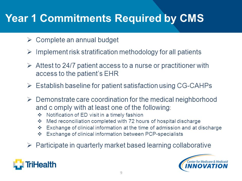 9 Year 1 Commitments Required by CMS  Complete an annual budget  Implement risk stratification methodology for all patients  Attest to 24/7 patient access to a nurse or practitioner with access to the patient's EHR  Establish baseline for patient satisfaction using CG-CAHPs  Demonstrate care coordination for the medical neighborhood and c omply with at least one of the following :  Notification of ED visit in a timely fashion  Med reconciliation completed with 72 hours of hospital discharge  Exchange of clinical information at the time of admission and at discharge  Exchange of clinical information between PCP-specialists  Participate in quarterly market based learning collaborative