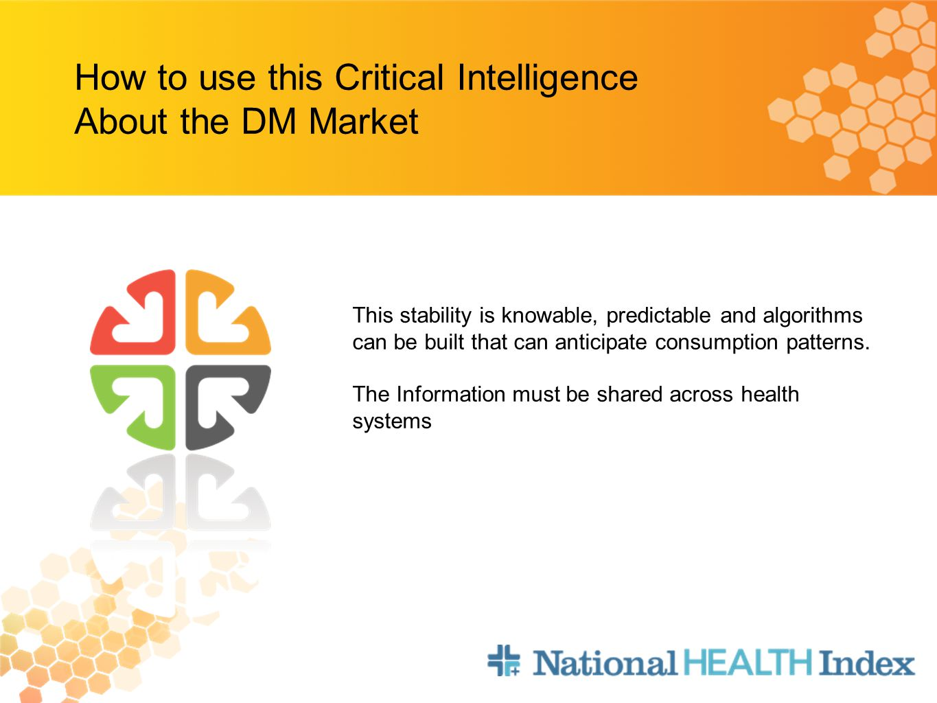 How to use this Critical Intelligence About the DM Market This stability is knowable, predictable and algorithms can be built that can anticipate consumption patterns.