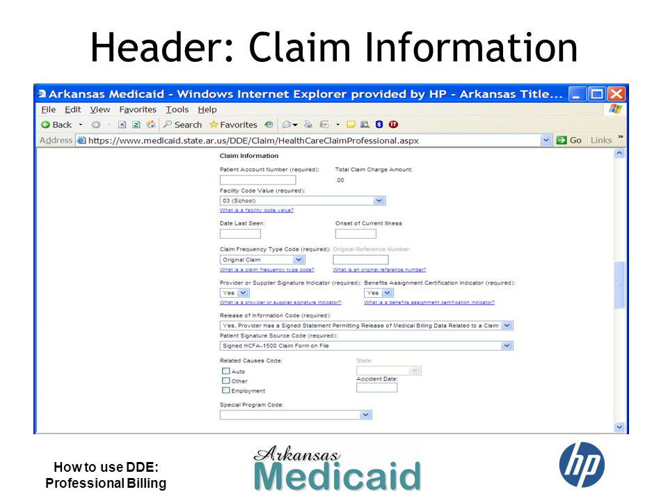 Header: Claim Information How to use DDE: Professional Billing