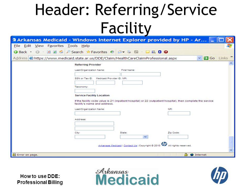 How to use DDE: Professional Billing Header: Referring/Service Facility