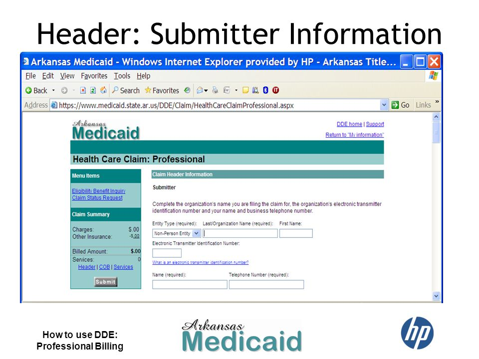 Header: Submitter Information How to use DDE: Professional Billing