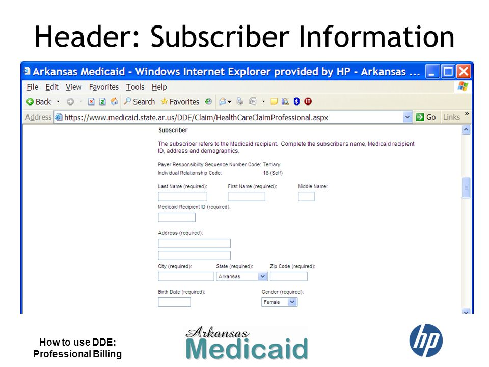 Header: Subscriber Information How to use DDE: Professional Billing