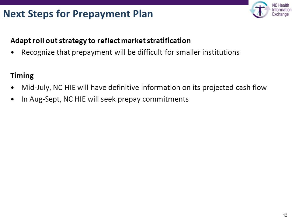 Next Steps for Prepayment Plan Adapt roll out strategy to reflect market stratification Recognize that prepayment will be difficult for smaller institutions Timing Mid-July, NC HIE will have definitive information on its projected cash flow In Aug-Sept, NC HIE will seek prepay commitments 12