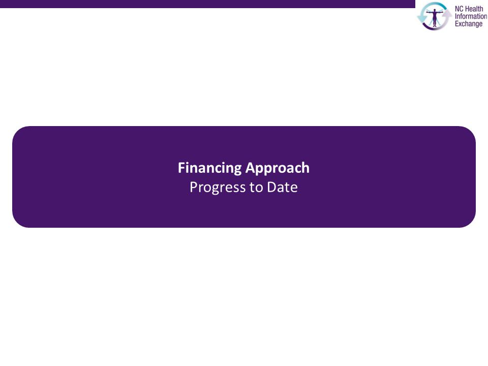 Financing Approach Progress to Date