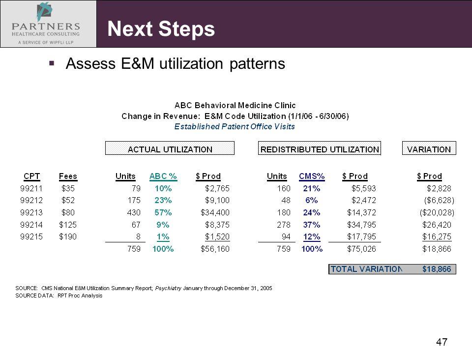 47 Next Steps  Assess E&M utilization patterns