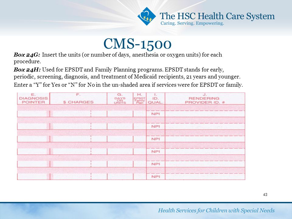 CMS-1500 43 Box 24G:Insert the units (or number of days, anesthesia or oxygen units) for each procedure. Box 24H:Used for EPSDT and Family Planning pr