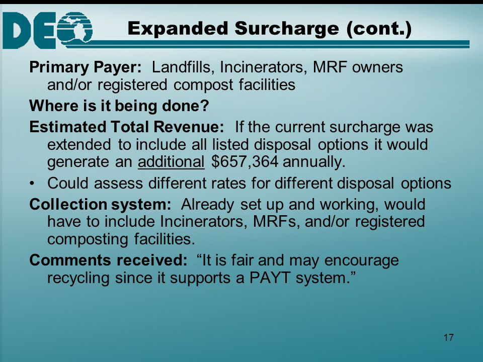 17 Expanded Surcharge (cont.) Primary Payer: Landfills, Incinerators, MRF owners and/or registered compost facilities Where is it being done? Estimate