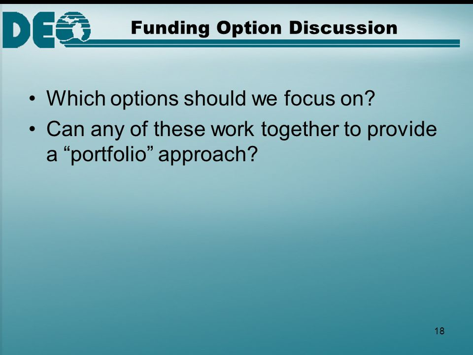 "18 Funding Option Discussion Which options should we focus on? Can any of these work together to provide a ""portfolio"" approach?"