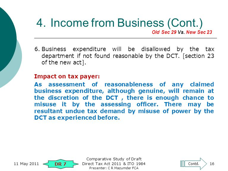 Presenter: C R Mazumder FCA 16 6.Business expenditure will be disallowed by the tax department if not found reasonable by the DCT.
