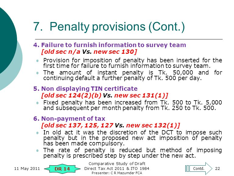 Presenter: C R Mazumder FCA 7. Penalty provisions (Cont.) 4. Failure to furnish information to survey team [old sec n/a Vs. new sec 130] Provision for