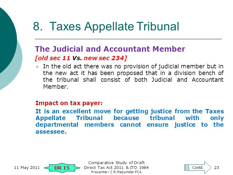 Presenter: C R Mazumder FCA 8. Taxes Appellate Tribunal The Judicial and Accountant Member [old sec 11 Vs. new sec 234] In the old act there was no pr