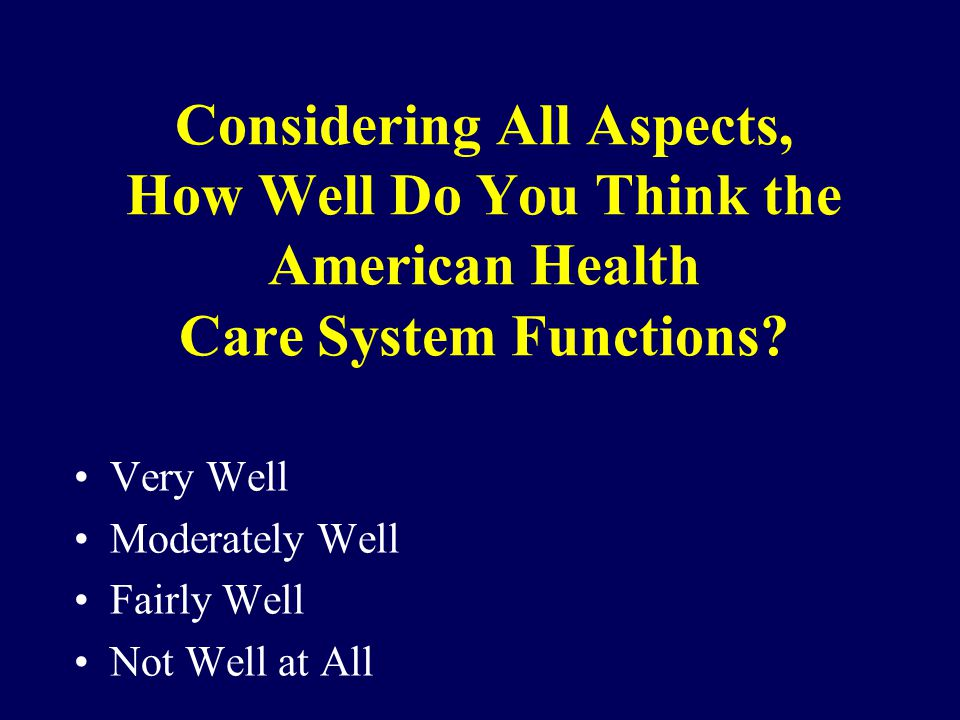 Considering All Aspects, How Well Do You Think the American Health Care System Functions.