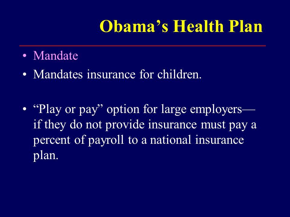 Obama's Health Plan Mandate Mandates insurance for children.