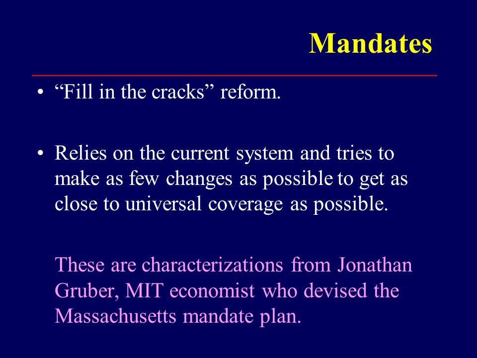 Mandates Fill in the cracks reform.