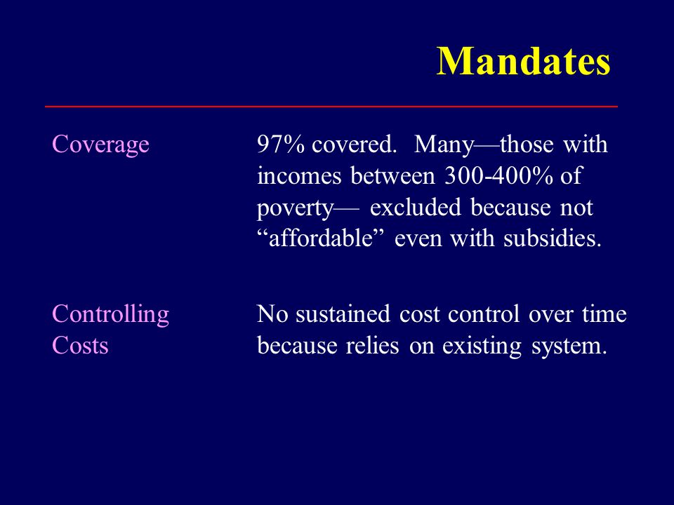 Mandates Coverage Controlling Costs 97% covered.