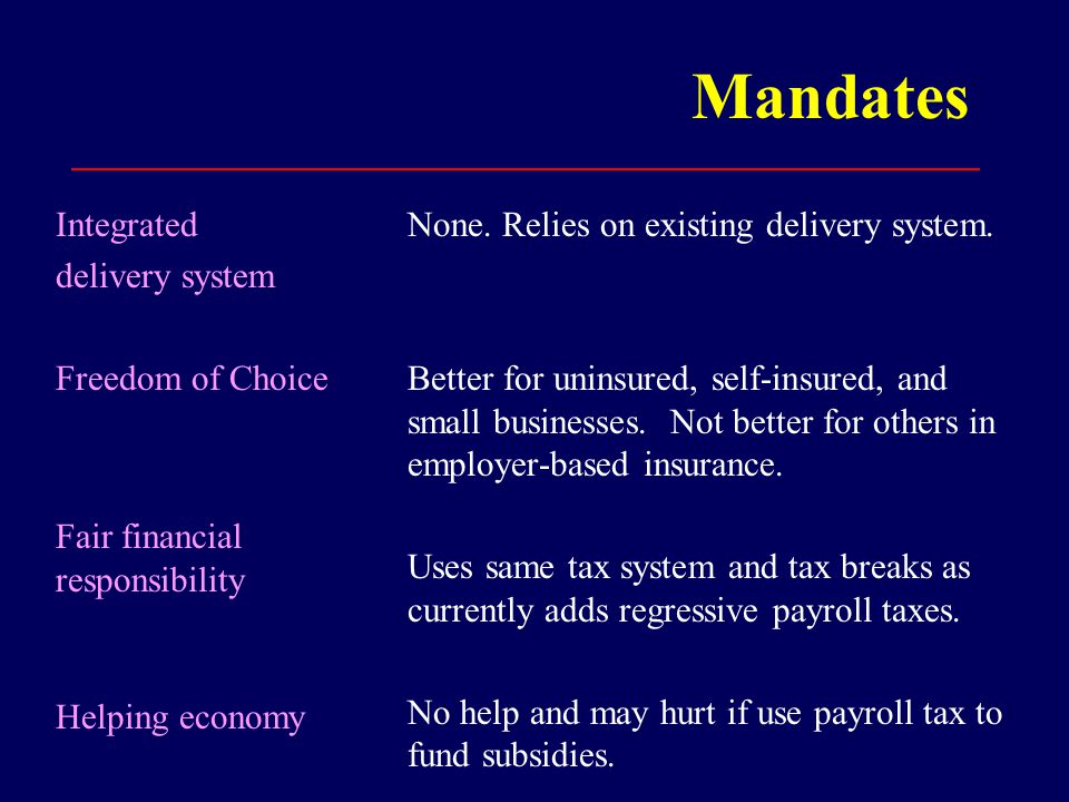Mandates Integrated delivery system Freedom of Choice Fair financial responsibility Helping economy None.