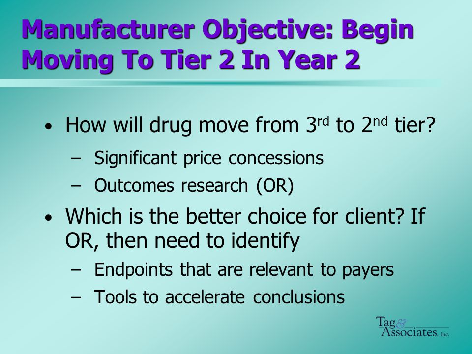 Manufacturer Objective: Begin Moving To Tier 2 In Year 2 How will drug move from 3 rd to 2 nd tier.
