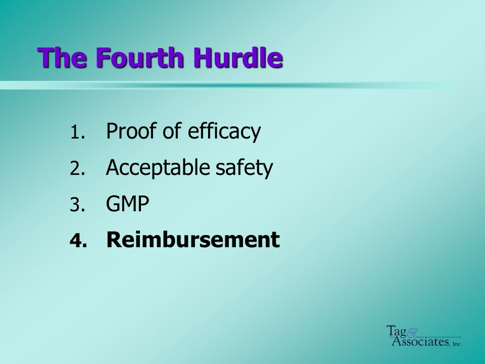 The Fourth Hurdle 1. Proof of efficacy 2. Acceptable safety 3. GMP 4. Reimbursement