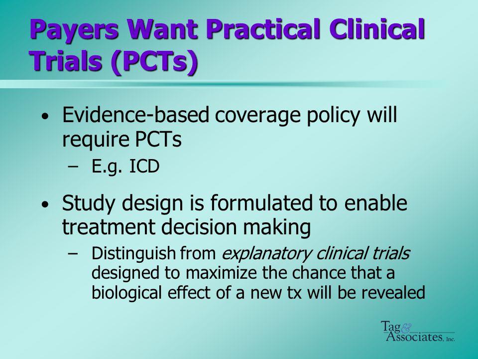 PCT Characteristics Compare clinically relevant interventions –E.g.